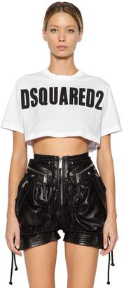 DSQUARED2 Logo Printed Cotton Jersey Crop T-Shirt
