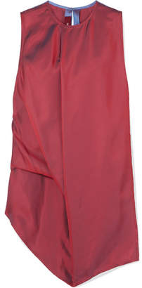 Sies Marjan - Lysa Asymmetric Two-tone Iridescent Dégradé Satin-twill Top - Burgundy