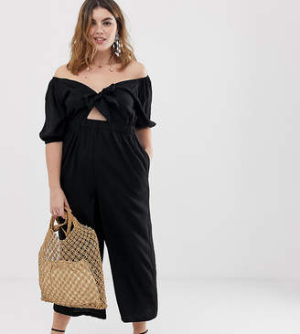 eaebbed798d59 Asos DESIGN Curve tea jumpsuit with puff sleeve and tie detail