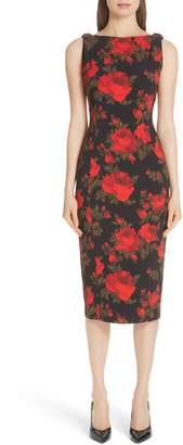 Michael Kors Rose Print Sheath Dress
