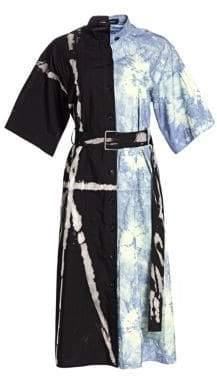 Proenza Schouler Women's Tie-Dye Split Denim Shirtdress - Black Lime - Size 2