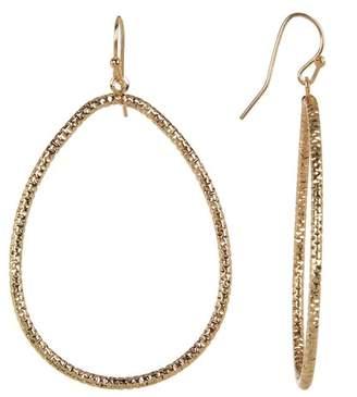 Spring Street Textured Open Oval Drop Earrings