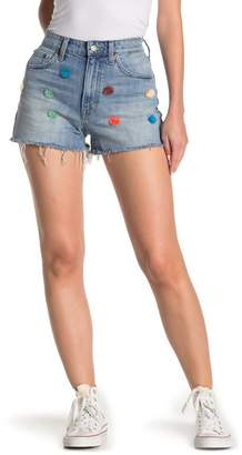 Lucky Brand Lucky Pins Frayed High Rise Denim Shorts
