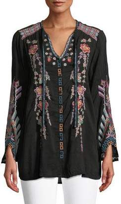 Johnny Was Alaura Embroidered Georgette Blouse, Plus Size
