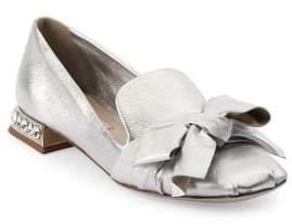 Miu Miu Embellished Metallic-Leather Loafers