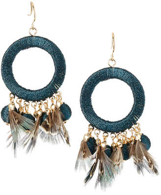 Lydell NYC Thread Wrapped & Feather Drop Earrings