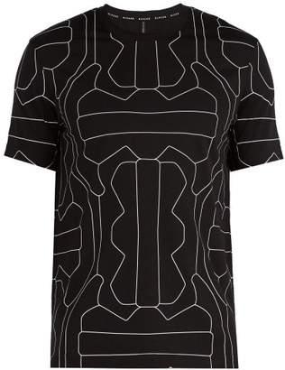 BLACKBARRETT by NEIL BARRETT Line Print Cotton T Shirt - Mens - Black White