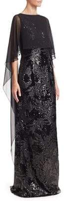 Teri Jon by Rickie Freeman by Rickie Freeman Women's Chiffon Overlay Sequined Gown - Black - Size 2