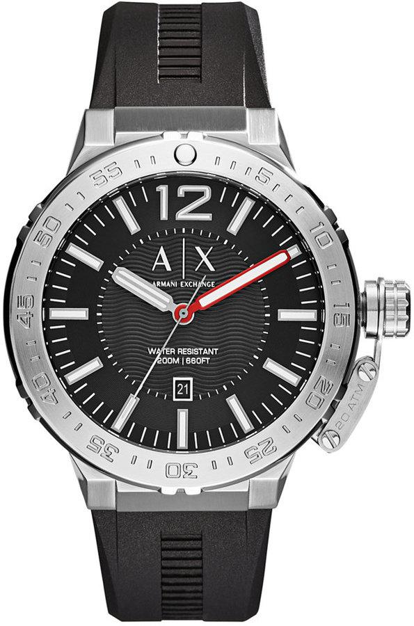 Armani Exchange A X Armani Exchange Men's Black Silicone Strap Watch 48mm AX1810
