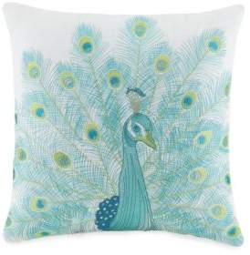 Jessica Simpson Embroidered Linen Blend Peacock Decorative Pillow