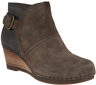 Dansko Nubuck or Suede Stacked Wedge Ankle Boot- Shirley