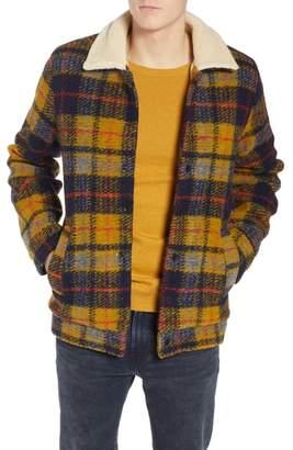 Scotch & Soda Plaid Faux Shearling Lined Wool Blend Trucker Jacket