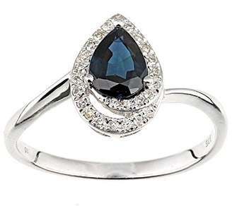 N. Naava Women's 9 ct White Gold Diamond and Emerald Teardrop Ring, Size - K