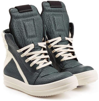 Rick Owens Textured Leather High-Top Sneakers