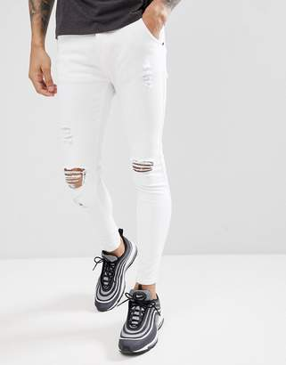 SikSilk Muscle Fit Jeans In White With Distressing