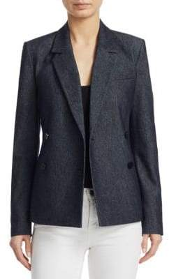 Theory Double Breasted Denim Blazer