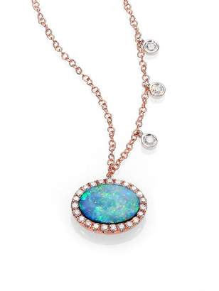 Meira T Opal, Diamond & 14K Rose Gold Pendant Necklace
