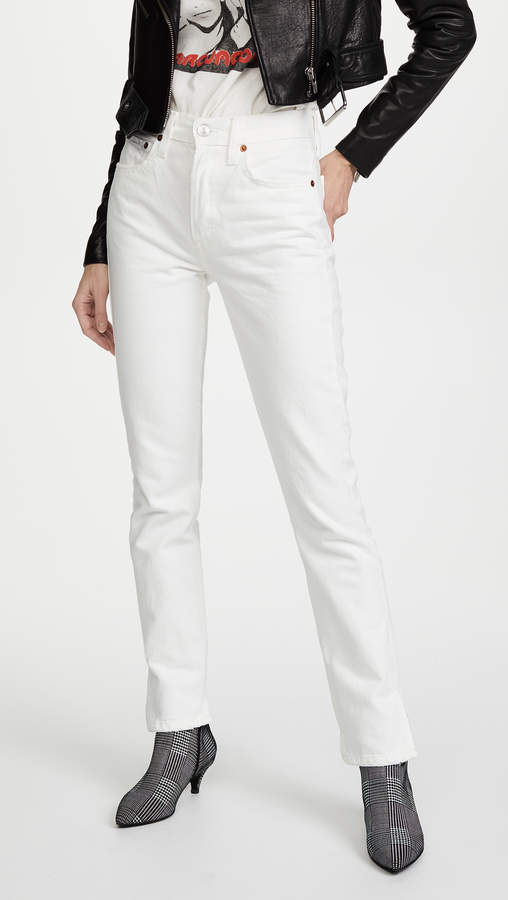 High Rise Straight Jeans with Slits