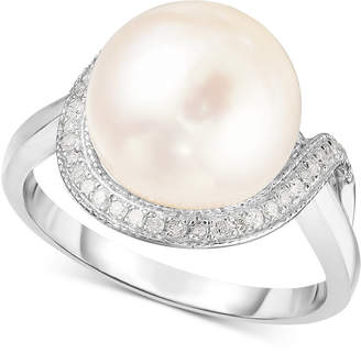 Macy's Cultured Freshwater Pearl (11mm) & Diamond (1/6 ct. t.w.) Ring in Sterling Silver
