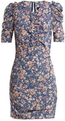 Isabel Marant Brizia Floral Print Puff Sleeved Dress - Womens - Blue Print