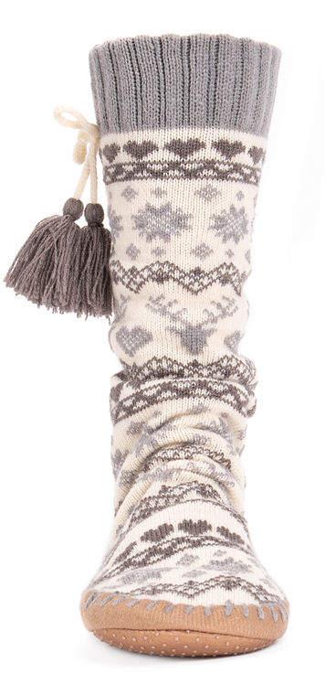 MUK LUKS Muk Luks Womens Slipper Socks With Tassels 1 Pair Slipper Socks - Womens