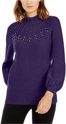 Alfani Embellished Mock-Neck Sweater