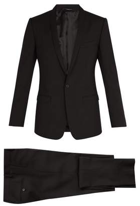 Dolce & Gabbana Gold Fit Shawl Lapel Stretch Wool Suit - Mens - Black