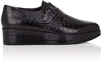 Robert Clergerie Women's Crocodile-Stamped Leather Monk-Strap Shoes $595 thestylecure.com