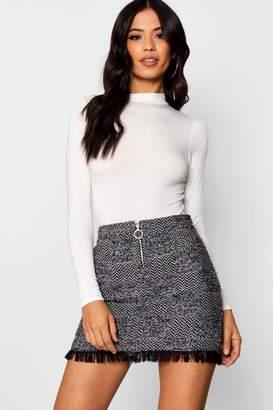boohoo Freyed Hem Woven Check Mini Skirt