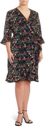 Lea & Viola Women's Ruffle Wrap Dress - Black Mini Floral, Size 1x (14-16)