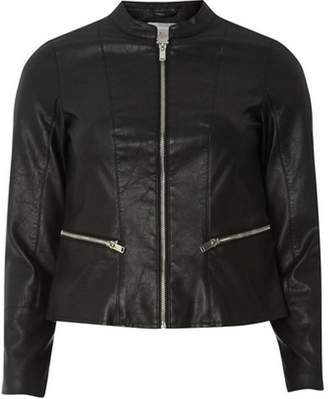 Dorothy Perkins Womens Petite Black Collarless Faux Leather Jacket