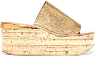 Chloé Camille Metallic Cracked-leather Wedge Sandals - Gold