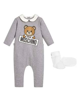 Moschino Collared Sleepsuit With Detachable Feet