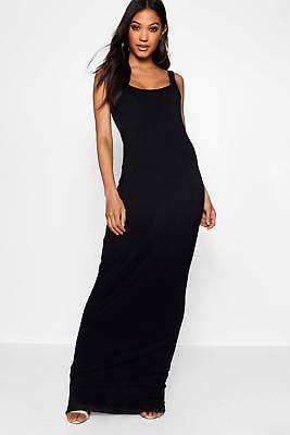 boohoo NEW Womens Square Neck Basic Jersey Maxi Dress in Polyester