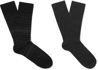Hugo Boss Two-Pack Striped Stretch Cotton-Blend Socks $20 thestylecure.com