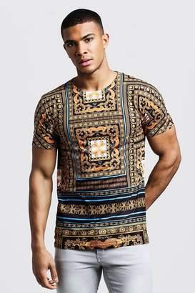 boohoo Gold Tile Baroque Print T-Shirt