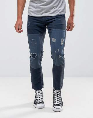 Asos Slim Jeans In Blue Cord With Rips And Patches