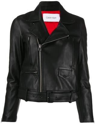Calvin Klein buckled leather jacket