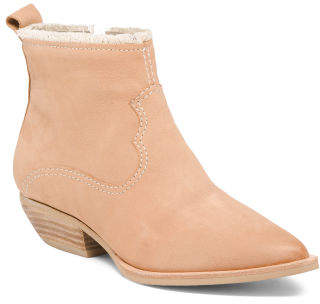 Western Inspired Pointy Toe Leather Booties
