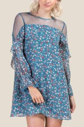 francesca's Elizabeth Floral Shift Dress - Dark Teal
