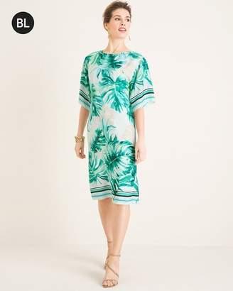 Black Label Asymmetrical Palm-Print Kimono Dress