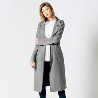 DSTLD Womens Wool Blanket Maxi Coat in Grey