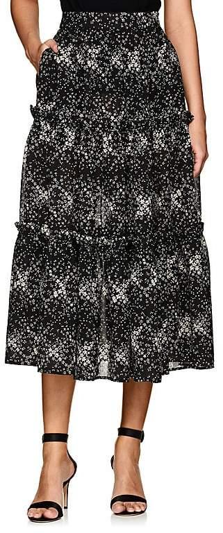 Women's Floral Wool Gauze Midi-Skirt