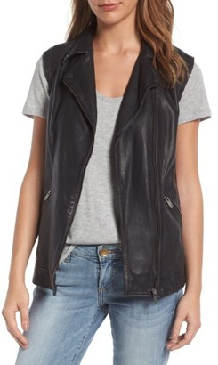 Women's Halogen Leather Vest $249 thestylecure.com