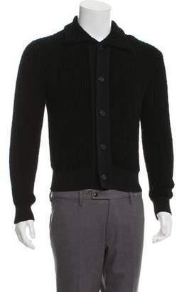 Maison Margiela Rib Knit Point Collar Cardigan