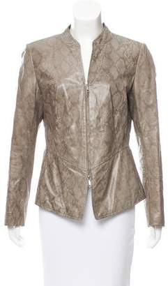Lafayette 148 Reptile Print Leather Jacket