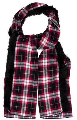 Donni Charm Fur-Trimmed Plaid Shawl w/ Tags