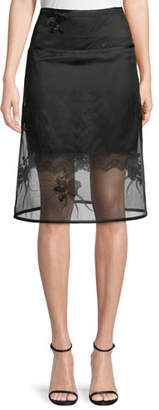 Helmut Lang Orchid-Embroidery A-Line Organza Skirt
