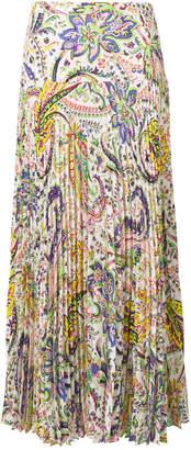 Etro print pleated maxi skirt