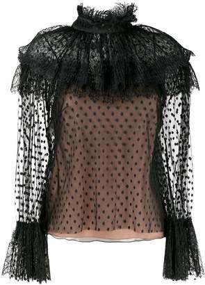 Alberta Ferretti sheer polka dot blouse